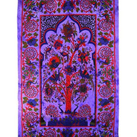 Tree Of Life Temple Wall Tapestry Home Decor Table Cloth Bed Spread 84 X 55 Inches India (Purple)