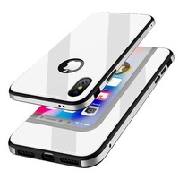 LMFONG6 KADES Protective iPhone X Case with Anti-Scratch Tempered Glass Back Cover and Reinforced Bumper for Apple iPhone X / iPhone 10 - White