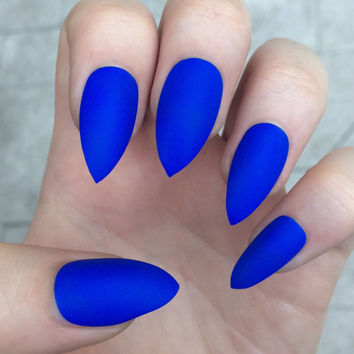 Stiletto nails, fake nails, matte nails, blue press on nails