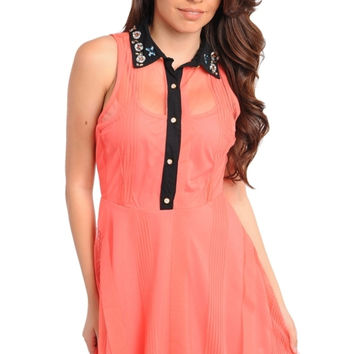 Coral Embellished Collar Chiffon Flared Dress