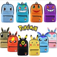 Pokemon Pikachu Haunter Eevee Bulbasaur Canvas Backpack Students Shoulders Bag Pocket Monster Haunter Schoolbags Laptop Bags