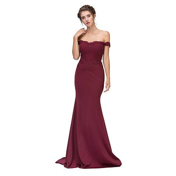 CLEARANCE - Lace Appliqued Bodice Long Formal Dress Off-Shoulder Burgundy (Size Small)
