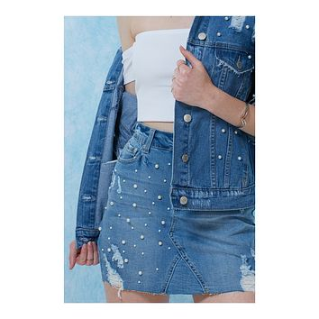 Stretchy Washed Ripped Light Denim Mini Skirt with Pearl Embellishment