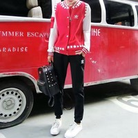 """Adidas"" Women Casual Fashion Multicolor Flower Print Long Sleeve Cardigan Baseball Cl"