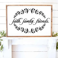 Faith Family Friends Welcome Laurel Wreath Vinyl Wall  Decal Sticker Stencil Art Home Decor