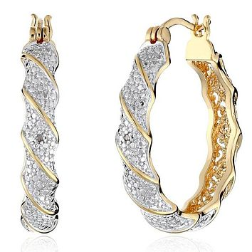 Charming Jewelry Lady Real 18 K Gold Plated&topaz Twisted Hoop Earrings