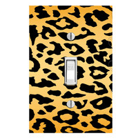 Cheetah Print Light Switch Cover with Decal Leopard Spots Stickers Animals Wall Art LS16