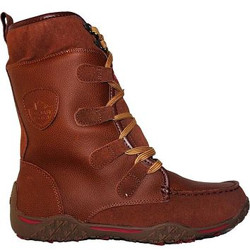 Pajar Gaetana - Waterproof Cognac Leather/Suede Calf-High Pile-Lined Winter Boot