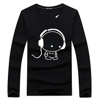 Hot Sale Fashion Men Long Sleeve T-Shirt Casual Rock Headset Earphone Dogs Music Printing Tops Cool O-Neck