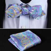JF401B Blue Yellow  Floral Silk Men Diamond Point Tip Self Bow Tie Pocket Square Handkerchief Hanky Suit Set