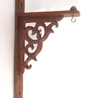 Vintage carved wood brackets. Ornate wooden plant hanger. Sign bracket. Brown wall bracket.