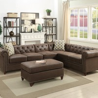 Sheffield Dark Coffee Finish Breathable Leatherette 4-PCs Modular Sectional Sofa