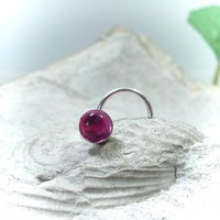 Nose Stud Ruby Silver