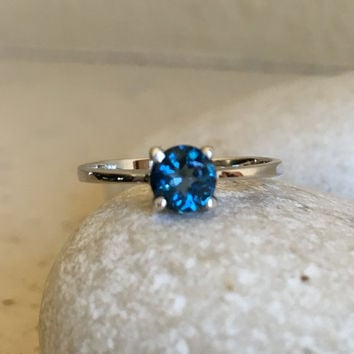 London Blue Topaz Ring- Promise Ring- Gemstone Ring- Stack Ring- December Birthstone Ring- Sterling Silver Rings- Tiny Ring