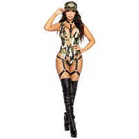 Sexy Bootcamp Babe Army Camouflage Romper Costume