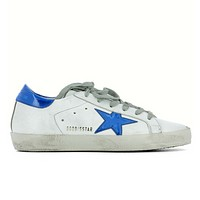 GOLDEN GOOSE DELUXE BRAND SUPERSTAR SNEAKERS WHITE LEATHER BLUE