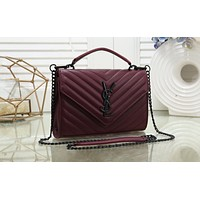YSL Hot Selling Fashion Ladies Coloured Single Shoulder Bag Shopping Bag Burgundy N-MYJSY-BB