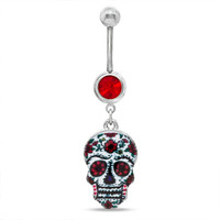 014 Gauge Floral Sugar Skull Dangle Belly Button Ring with Red Crystal in Stainless Steel - - View All - PAGODA.COM