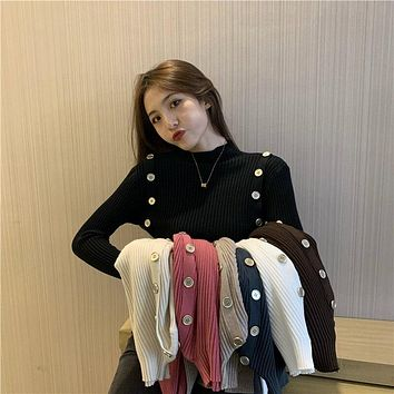Make firm offers new winter pure color half a turtleneck cultivate one's morality show thin buttons knit sweater render