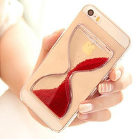 Liquid Case For iPhone Fashion Quicksand Clear Phone Cover Shell For iPhone 5 5S - gold updated