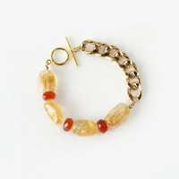 Bold and Chunky Yellow Citrine Gemstone Bracelet with Carnelian Stones, Gold Aluminum Chain