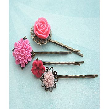 Shades of Pink Flower Hair Clips