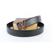 Louis Vuitton Woman Men Fashion Smooth Buckle Belt Leather Belt Skin Belts LV Beltt151
