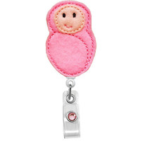 Swaddled Baby Girl -Nicu / Labor and Delivery Nurses Badge Holder - Cute Badge Reels - Unique ID Badge Holder - Felt Badge - RN Badge Reel