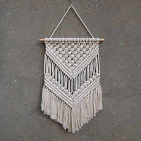 White wall decor Handicraft wall hanging Macrame wall art Macrame wall hanging Housewarming gift for her New home decor Mother's day gift