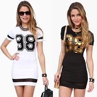 Women Letter 98 Printed Dress Lady Slim Sexy Short Slevee Dress Summer T-Shirt Dress Plus Size Casual Dresses Bodycon Vestidos