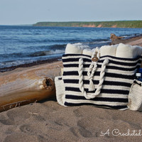 """Crochet Pattern: """"Nautical Knots"""" Beach / Yarn / Tote Bag, 2 sizes included, Permission to Sell Finished Items"""