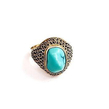 Chinese Export knucklebone turquois gold over sterling silver vintage ring 925