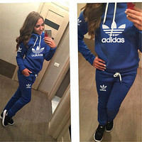 Casual Print Hoodie Top Sweater Pants Trousers Set Two-piece Sportswear Blue
