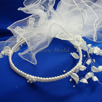 Flower Girl headpiece with veil/puff, pearl band with lily spray/veil