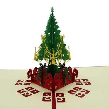 3D Merry Christmas Tree Greeting Cards Postcards Thanksgiving Souvenirs Birthday Gift Message Card CY1