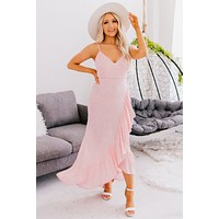 Wishful Delight Spotted Ruffle Maxi Dress (Candy Pink)