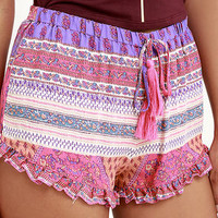 Bloom Town Fuchsia Print Shorts