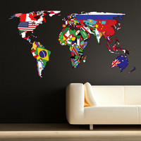 Wall Stickers Full Colour World Map Atlas Office Bedroom Wall Art Sticker Decal Mural Transfer Wall Stickers