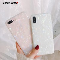 USLION Glitter Phone Case For iPhone 7 8 Plus Dream Shell Pattern Cases For iPhone X 8 7 6 6S Plus Soft TPU Silicone Back Cover