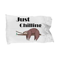 Sloth pillowcase Standard Pillow Cover gift for her Housewarming Birthday gift Bedding