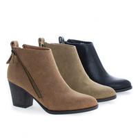 Avenge01M Zip Up Almond Toe High Chunky Heel Ankle Boots