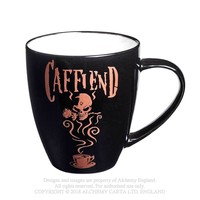 Alchemy Gothic Caffiend Coffee Mug Skull w/ Rose
