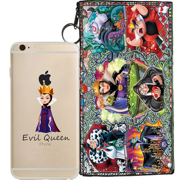 Disney's Villains (Evil Queen) Jelly Clear Case For Apple Iphone 7 + Pouch