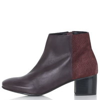 BENNET Suede Mix Ankle Boots - Burgundy