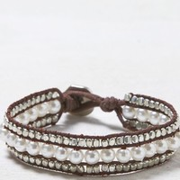AEO Women's Pearl & Leather Bracelet (Leather)