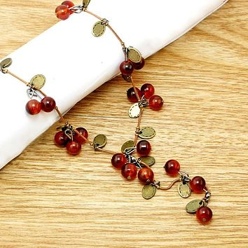 Beautiful Red Cherries Necklace Pendant
