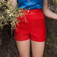 Retro cherry red high waist shorts