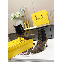 FENDI 2021 Trending Women's men Leather Side Zip Lace-up Ankle Boots Shoes High Boots09050gh