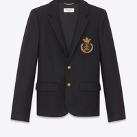 SAINT LAURENT ‎FELT BLAZER WITH SAINT LAURENT BADGE ‎ | YSL.COM