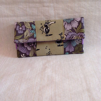 Nightshade Floral and Potion Bottles Purple and Green Fashion Bifold Wide Women's Cotton Wallet